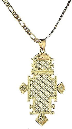 Collar, collar, colgante de cruz de Color dorado de 24 K, collar de cadena de mujer etíope africana, regalos para mujer, collar de joyería
