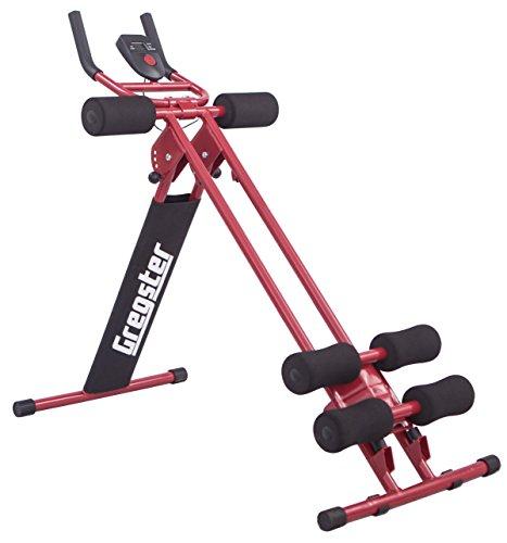 Gregster AB Plank Bauchtrainer mit Trainingscomputer, rot, 4-facher Schwierigkeitsgrad, zusammenklappbar, EN ISO 20957 geprüft