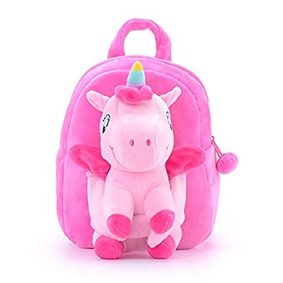 Conzy Kids Unicorn Backpack Plush Doll Toy Toddler Snack Travel Backpack Preschool Shoulder Backpack for 1-5 Year Old Girls Gift