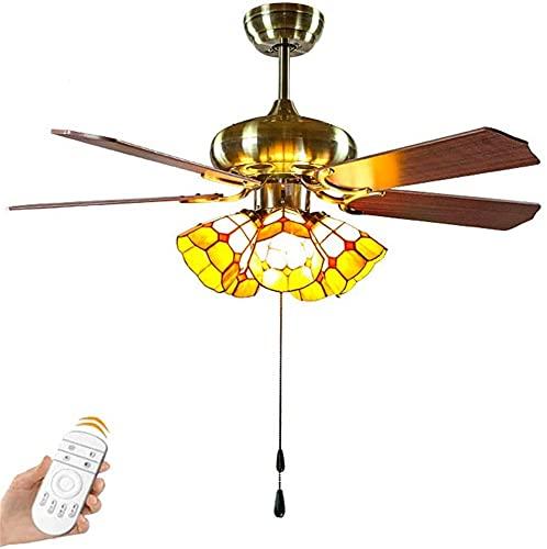 Ventilador de techo estilo Tiffany con candelabro de luz Lámparas de ventilador antiguas con control remoto aspas de madera maciza,s Iluminación de lámpara de techo de dormitorio de cocina industria