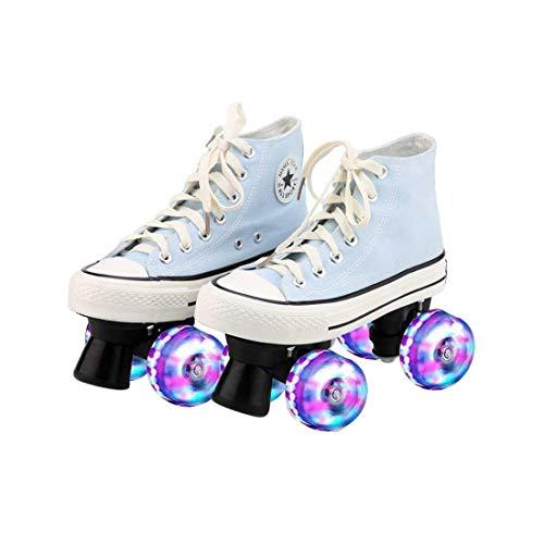 ZXSZX Zapatos para Damas Y Caballeros, Adultos Cómodos LED Rollerskates Quad Patinaje Al Aire Libre para Niñas Y Niños,Himmelblau-43