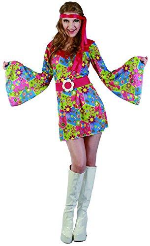 Rire Et Confetti - Fichip012 - Déguisement pour Adulte - Costume Hippie Florale - Femme - Taille L