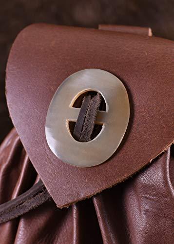 Geldbeutel mit Hornknopf, rotbraun Lederbeutel, groß Ledertasche – Wikinger – LARP – Mittelalter - 5