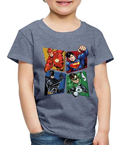 DC Comics Justice League Superhelden Kinder Premium T-Shirt, 110-116, Blau meliert