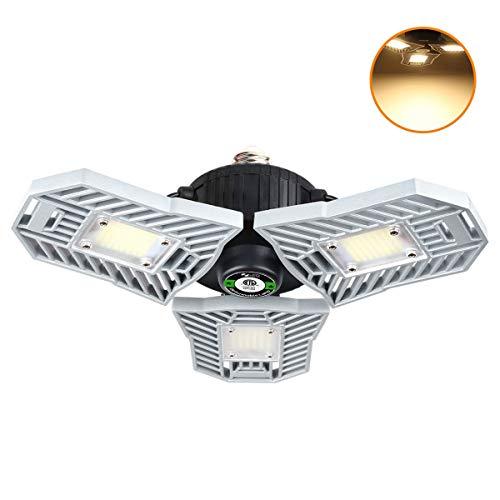 Tribright Garage Light 3000K Warm White Tribrite Led Adjustable Light 6000 Lumens 60W Deformable Lamp, CRI80+ LED Shop Lights for Garage Basement Barn(60W 3000K Warm Light)