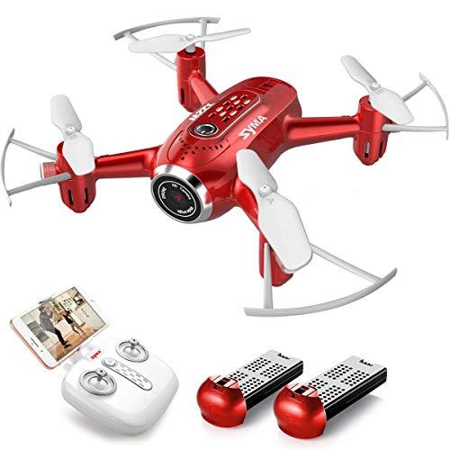 SYMA Mini drone HD Live Trasmissione RC Pocket drone RTF, quadricottero portatile con controllo remoto con altitudine modalità controllo app per principianti, bambini, colore: rosso
