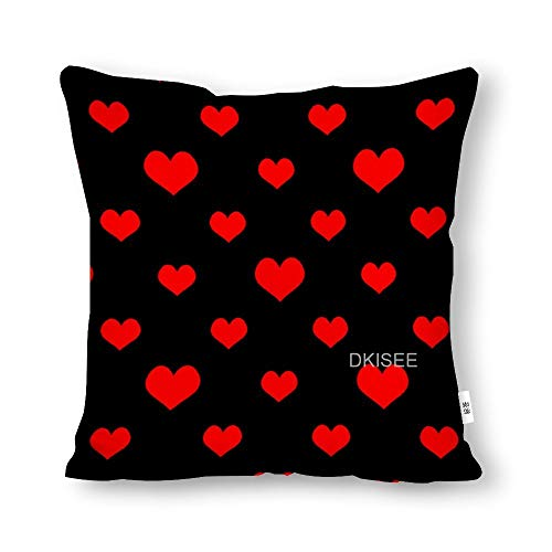 DKISEE Red Hearts on Black Background Throw Pillow Cover, Cotton Canvas Decorative Pillow Case Novelty Modern Pillow Cushion Waist Cover for Sofa Bed 24x24 Inch, SDS2617