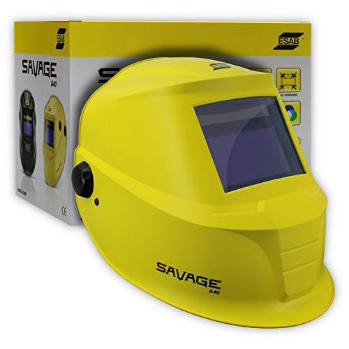 ESAB Savage A40 - Casco de soldadura automático profesional con protección UV, clase óptica: 1/1/1/2, para todas las aplicaciones de soldadura, color amarillo