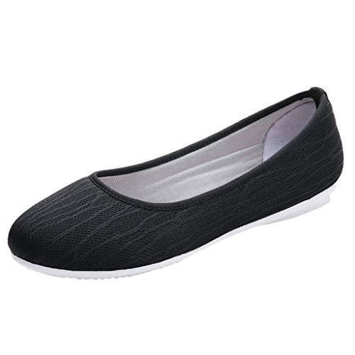 Damen Geschlossene Ballerinas Slip On Atmungsaktive Mesh Schuhe Flache Slipper Frauen Mokassins Bequeme Loafer Leichte Halbschuhe Celucke (Schwarz, 41 EU)