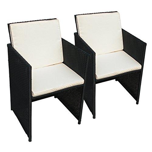 indoba Lot 2 x Chaise de Jardin, Faro – Polyrotin – Serie Faro, Noir, 52 x 52 x 86 cm, ind de 70077 de St