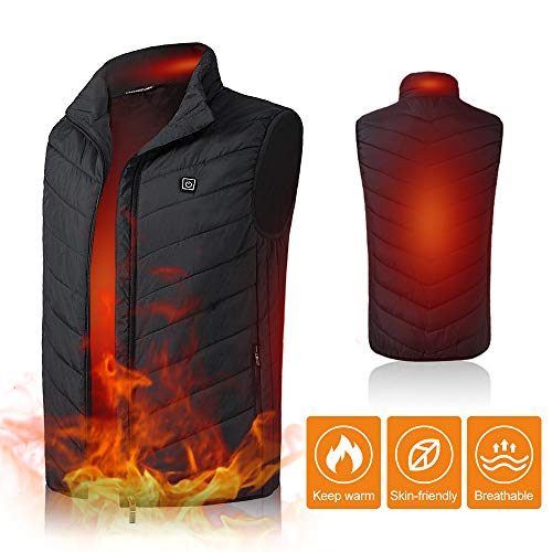 Lixada Lightweight Winter Warm Waistcoat Electric Heating Vest USB Charging Heated Coat Commuting Walking Camping Ice Fishing Thermal Vest with...