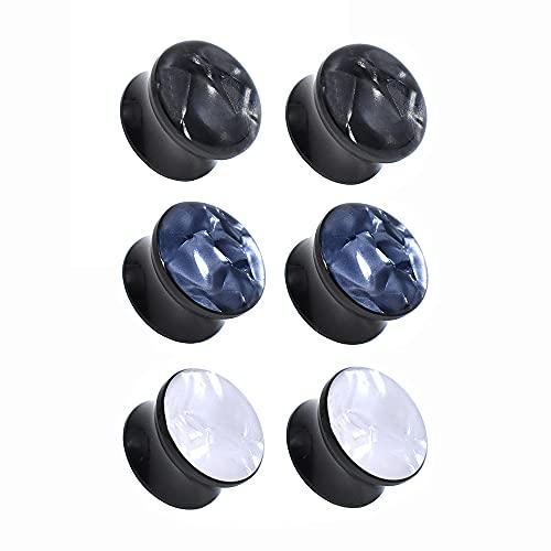 Jboyanpei 6 unids/3 pares simple de mármol acrílico oído túnel calibre doble acampanado enchufe expansor del oído tamaño 8 mm a 30 mm