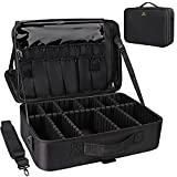 Relavel Makeup Case Large Makeup Bag Professional Train Case 16.5 inches Travel Cosmetic Organizer Brush Holder Waterproof Makeup Artist Storage Box, 3 Layer Large Capacity, with Adjustable Strap and Dividers
