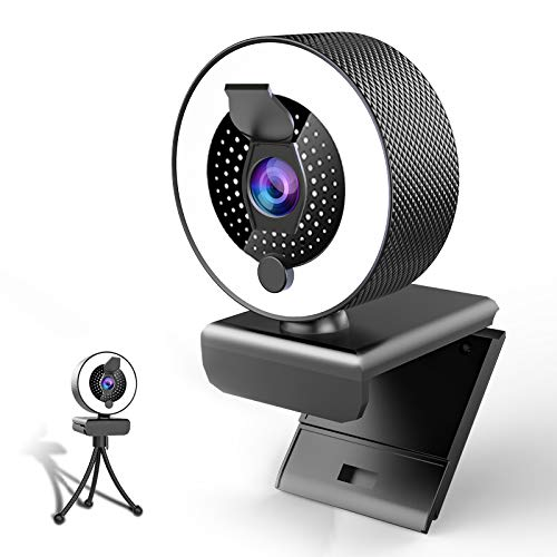 2k Webcam with Microphone Ring Light-HD Face Web Cam with Privacy Cover&Tripod for Desktop/Laptop/PC/MAC,Web Cameras for Computers,Skype,YouTube,Zoom,Xbox One,Studying,Conference and Video Calling