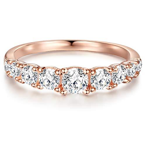 Tresor 1934 Damen-Ring Verlobungsring Sterling Silber in Roségold-Farben mit Zirkonia weiß in Brilliant-Schliff - Memoire-Ring mit Stein Trauring für Hochzeit rosévergoldet