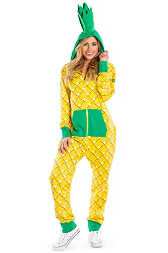 Tipsy Elves' Women's Pineapple Costume - Funny Yellow Fruit Halloween Jumpsuit Size Small
