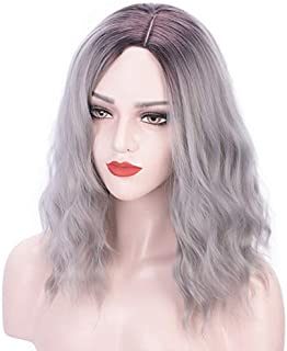 ProttyLife Curly Wave Wig Short bob Wigs Shoulder Length side part Women's Short Wig ombre color Synthetic Cosplay Wig Pastel Bob Wig for Girl Costume Wigs