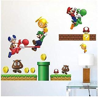 coucher amovible en PVC Autocollant Papier mural Stickers Art pour chambre denfant 59?cm x 76?cm Super Mario Stickers muraux 3d Home Decor Chambre