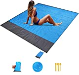 WENTS Beach Blanket Picnic Blanket Waterproof Water Resistant Picnic Mat Rug Lightweight with 4 Fixed Nails for Beach, Camping, Hiking, Sports (200 x 140 cm, Blue + Gray)