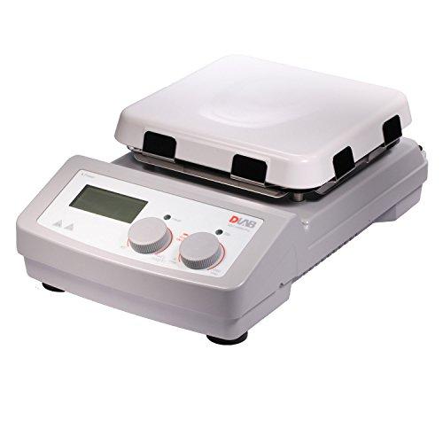 "DLAB 8030122111 Ms7-H550-Pro,LCD Digital 7"" Square Glass Ceramic, Hotplate Stirrer, 100-1500 RPM, Heating Temperature Up to 550C"