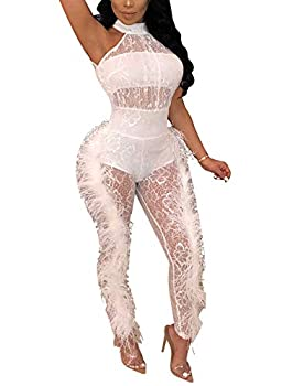 Womens Sexy Halter Neck See Through Bodycon Feather Side Lace Jumpsuit Clubwear White Size M