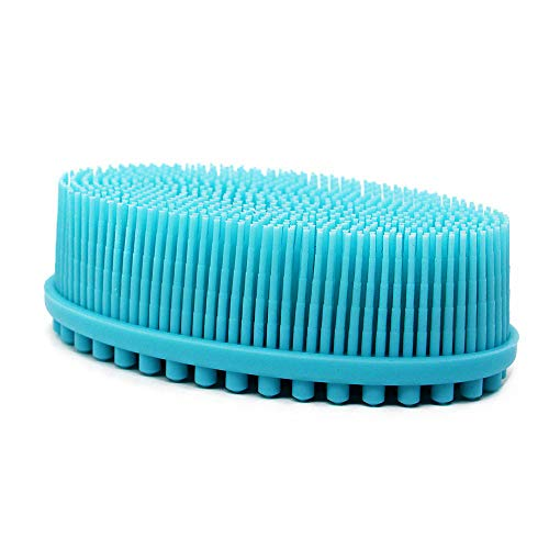 DNC Exfoliating Silicone Body Scrubber Shower Bath Body Brush Easy to Clean, Lathers Well, Eco Friendly, Long Lasting (Blue)
