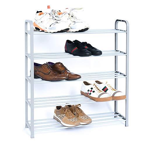 Straame Schuhregal mit 5 Etagen, stabil und einfach zu montieren, Schuhaufbewahrungslösungen für jeden Heim- oder Gemeinschaftsbereich, Schwarz oder Silber, 71 cm x 18 cm x 76 cm (Silber)