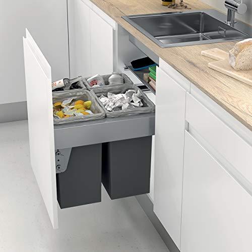 Kit con 4 Cubos de Basura extraíbles con Apertura automática para Armario de Cocina   2 Cubos de 24L y 2 Cubos de 8L