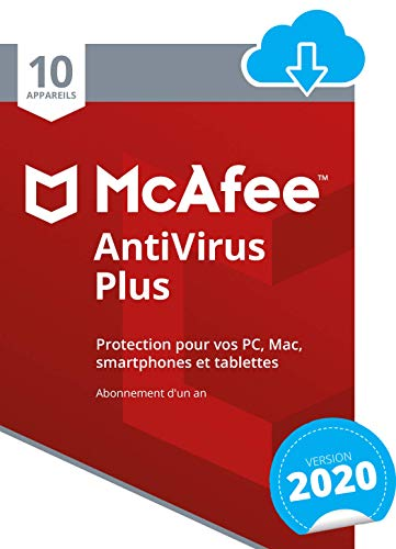 McAfee 2020 AntiVirus Plus |10 appareils | 1 An | PC/Mac/Android/Smartphones | Download code