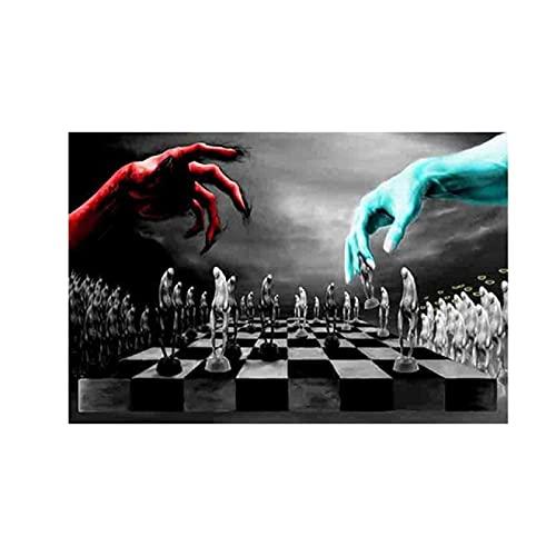 YYAYA.DS Lona Pared Arte Carteles e Impresiones de ajedrez del Bien y del Mal Juego de Pared en Blanco y Negro decoración de Imagen de Duelo 60x90cm
