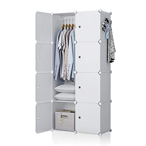 GEORGE&DANIS Cube Portable Wardrobe Closet Plastic Dresser Bedroom Armoire DIY Storage Organizer, White, 18 inches Depth, 3x5 Tiers