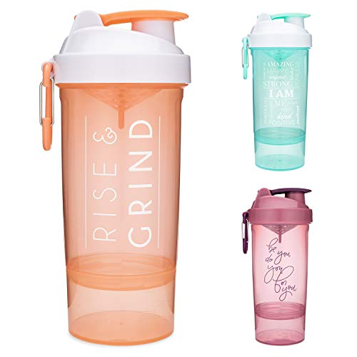 SmartShake Shaker Bottle with Motivational Quotes, Original2Go ONE 27oz Protein Shaker Cup, Container Storage for Protein, Supplements, Perfect Gym Fitness Gift (Rise & Grind - Coral)