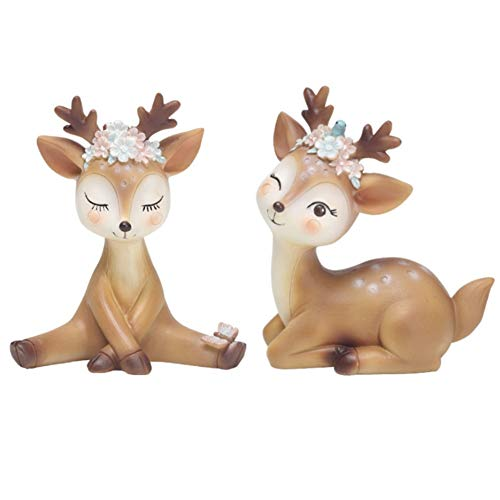 CheeseandU 2Pack Deer Figurines Cake Topper Xmas Reindeer Resin Cake Toppers Woodland Animal Doe Desktop Decoration Cute Miniature Statue Party Ornaments for Baby Shower Birthday Gift