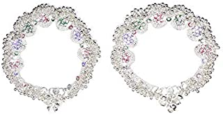 Frolics India Girl's Light Shaded Broad Stone Alloy Studded Heavy Anklet Hangings with Ghungroo (Multicolour, White)