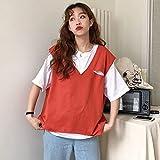 LYHMHZ Internet Celebrity Color Sólido Camiseta De Manga Corta Súper Popular para Mujer Estilo Coreano Verano V-Cuello Holido Chaleco Conjunto De Dos Piezas (Color : Orange, Size : L)