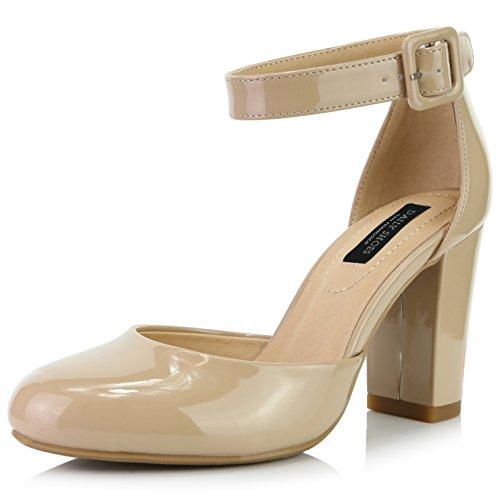DailyShoes Damen Chunky Heel Round Toe Ankle Strap Pumps Schuhe, Beige (Beigefarbenes Lackleder), 39 EU