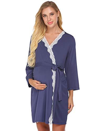 Ekouaer Damen Labor/Lieferung/Stillmantel Umstandsmode Nachtwäsche Krankenhaus Nachthemd Schwangerschaft Sleepshirts zum Stillen - - Small