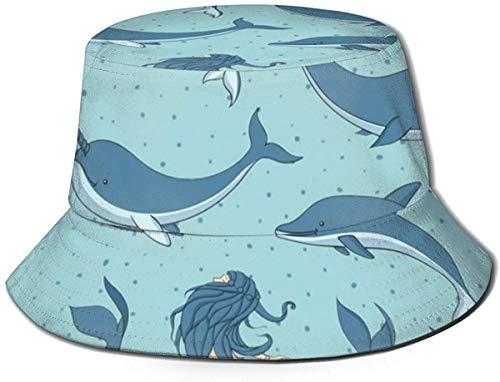 BONRI Sombreros de Cubo Transpirables con Parte Superior Plana Unisex Sombrero de Cubo de Caballo de Cebra Sombrero de Pescador de Verano-Ballenas Sirenas Narvales Océano-Talla única