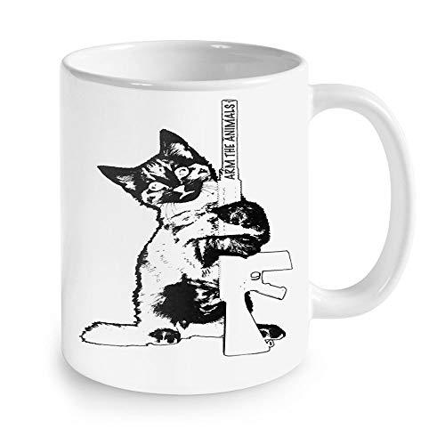 Gran regalo – gato con pistola de máquina, taza divertida para gato, 11 oz