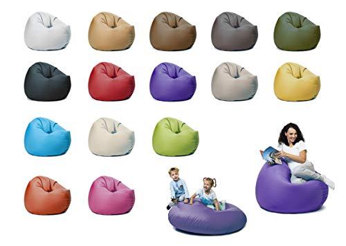 sunnypillow XXL Sitzsack mit Styropor Füllung 125 cm Durchmesser 2-in-1 Funktionen zum Sitzen und Liegen Outdoor & Indoor für Kinder & Erwachsene viele Farben und Größen zur Auswahl Violett