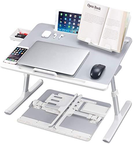 Lyrovo PVC Leather Foldable Adjustable Laptop Table Desk...
