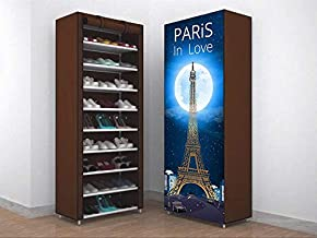 G-KAMP Multipurpose Portable Folding Shoe Racks for Home Organizers with Water-Resistant 9 Layer Metal Collapsible Shoe Stand (Paris in Love Brown, 9 Shelves)