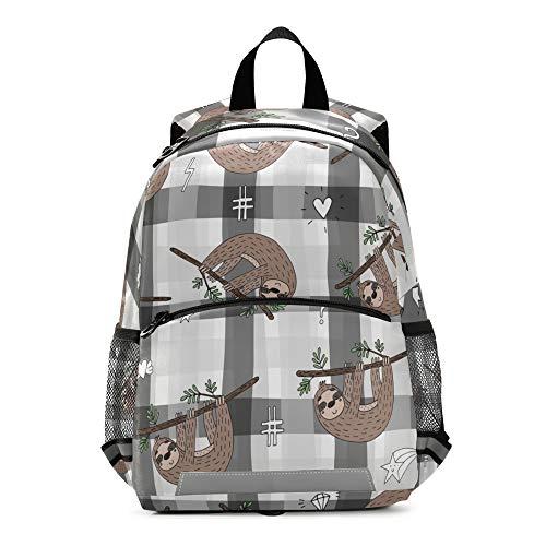 RELEESSS Lustiger Tier-Faultier-Kinder-Rucksack mit Brustgurt, Schultasche, Vorschulrucksack, Büchertasche, für Kleinkinder, Kindergarten, Jungen und Mädchen