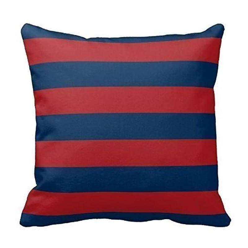 リスおばあさん画像枕カバー ダークネイビーブルーとレッドのストライプパターンデザインピローカバーケースホーム 45 x 45 cm