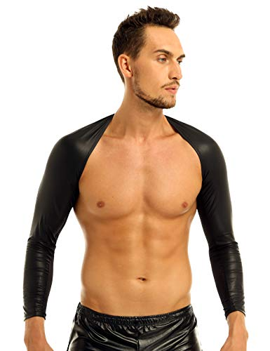 Freebily Herren Arm Hülsen Wetlook Hauteng Schulterjacke Männer Muskelshirt Leder Optik Unterhemd Clubwear Gogo Kostüm Schwarz L