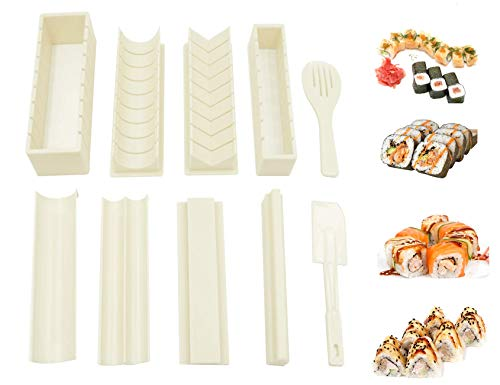 WITBASS 10 Pieces DIY Home Sushi Making tool Kit with Complete Sushi Set Plastic Sushi Maker Tool Complete with 8 Sushi Rice Roll Mold Shapes Fork Spatula