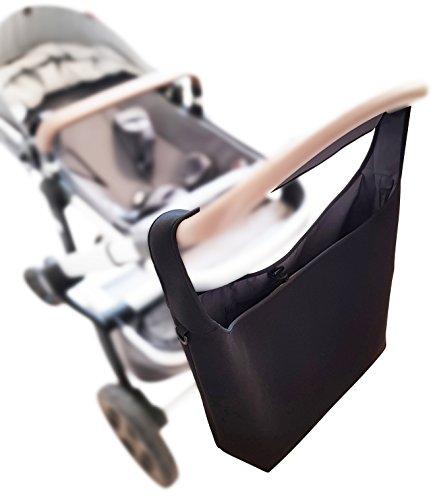 Universelle Kinderwagen Einkaufstasche XL (Neopren) mit Kühlfach - Schultergurt - 2 Karabinerhaken - SCHWARZ - Shopper Kinderwagen-tasche gross Rollator Rollstuhl Zubehör - MIND CARE ESSENTIALS (v2)