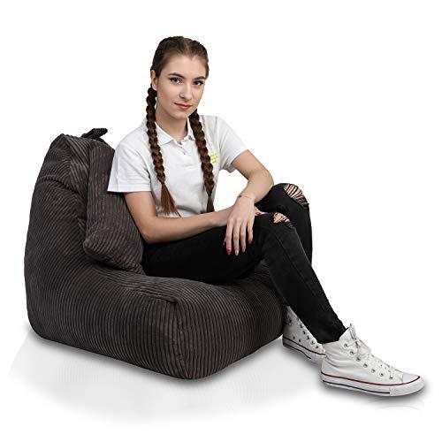 Ecopuf Keiko S Sitzsack Velvet und Kissen - Samt-Bean-Bag mit Doppeltem Anti-Verlust-Reißverschluss
