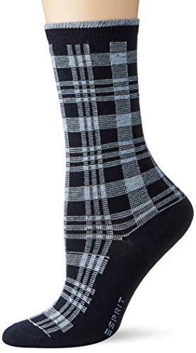 ESPRIT Damen Nopped Check Socken, blau (marine 6120), 39-42