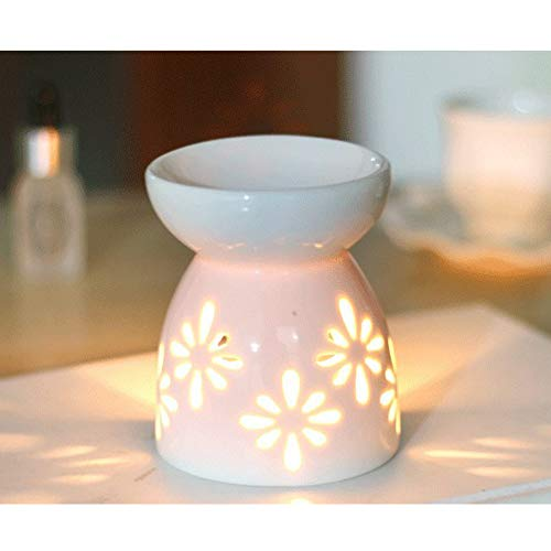 QPOLLY Home and Gift Oil Burner-White Glazed, Ceramic Wax Melt Essential Burner White Flower Pattern, Aroma Burners Assorted Warmer Candle Scented Diffuser Bedroom Decor Housewarming Melts Holders